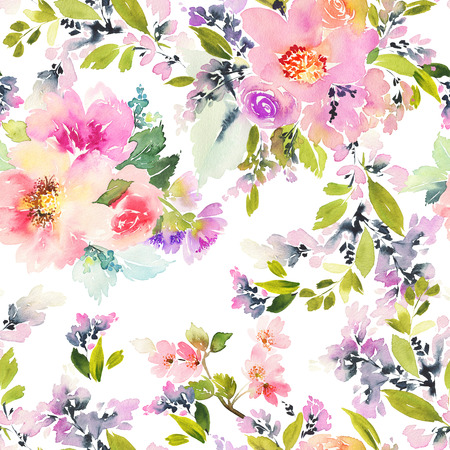 yellow: Seamless pattern with flowers watercolor. Gentle colors. Female pattern. Handmade. Stock Photo