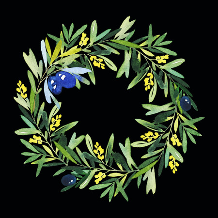 holly day: Olive wreath watercolor. Handmade. Wedding, Easter, birthday, Mothers Day. Congratulation card.