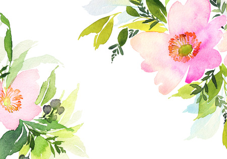 natural backgrounds: Greeting card with flowers. Pastel colors. Handmade. Watercolor painting. Wedding, birthday, Mothers Day. Bridal shower. Stock Photo