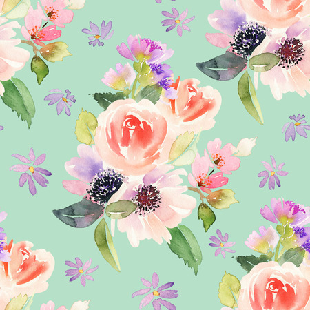 gentle: Seamless pattern with flowers watercolor. Gentle colors. Female pattern