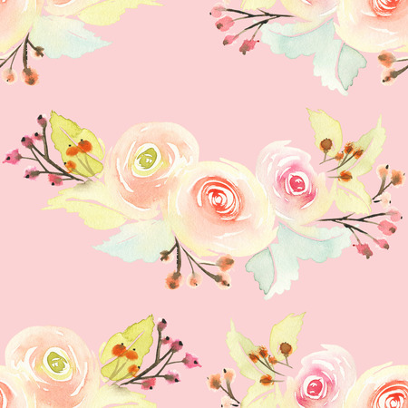 watercolour background: Seamless pattern with flowers watercolor. Gentle colors. Female pattern. Stock Photo
