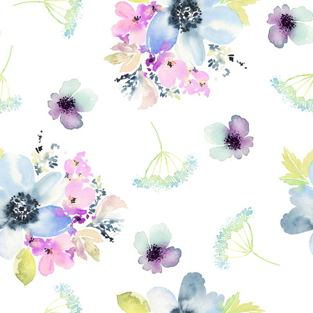 Seamless pattern with flowers watercolor. Gentle colors. Female pattern. Archivio Fotografico