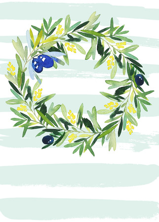 olive wreath: Olive wreath watercolor.  Wedding, Easter, birthday, Mothers Day. Congratulation card.