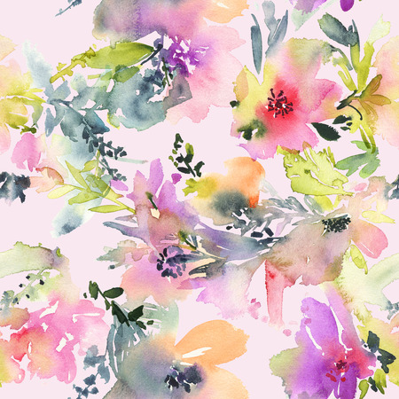 painting on wall: Abstract watercolor flowers. Seamless pattern. Bright colors. The unusual shape.
