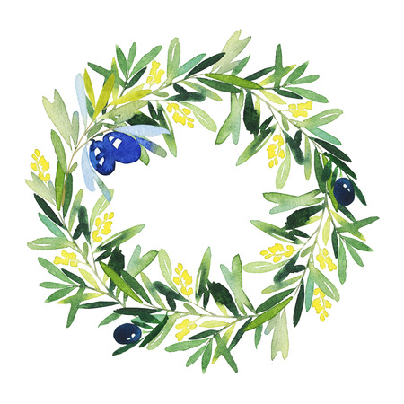 olive wreath: Olive wreath watercolor. Handmade. Wedding, Easter, birthday, Mothers Day. Congratulation card.