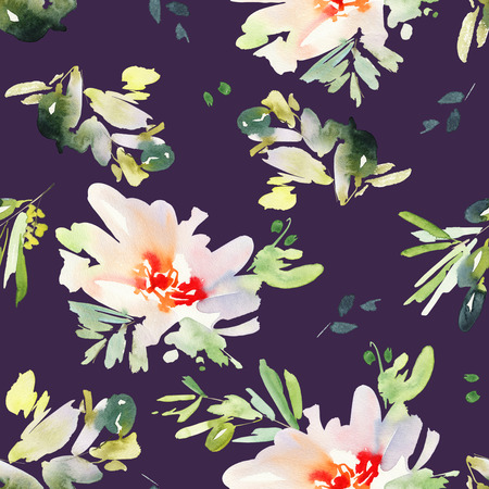 gentle: Seamless pattern with flowers watercolor. Gentle colors. Female pattern. Stock Photo
