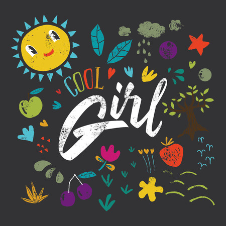 cool girl: Cool girl to print T-shirts. Hand lettering.