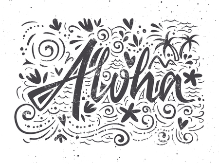 Aloha shirts to print. Hand lettering. illustration. Summer composition.