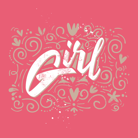 girl shirt: Vector illustration. Abstract composition.  Hand lettering. Handmade. Abstract illustration.