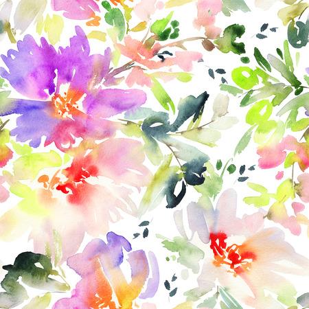 Naadloze patroon met bloemen aquarel. Zachte kleuren. Vrouwelijke patroon. Handgemaakt.