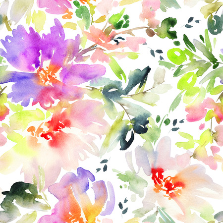 nature wallpaper: Seamless pattern with flowers watercolor. Gentle colors. Female pattern. Handmade. Stock Photo