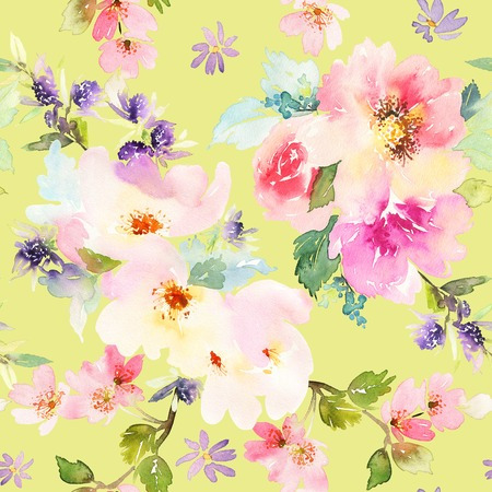 gentle: Seamless pattern with flowers watercolor. Gentle colors. Female pattern. Handmade. Stock Photo