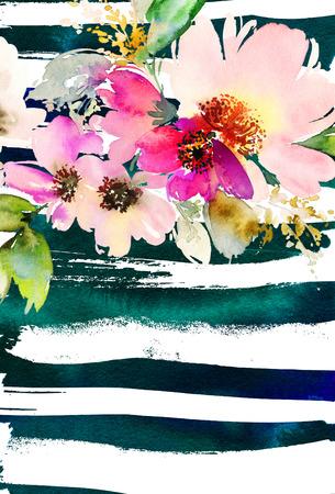 bouquet fleur: Carte de voeux avec des fleurs. Les couleurs pastel. Fait main. La peinture � l'aquarelle. Mariage, anniversaire, f�te des m�res. douche nuptiale.