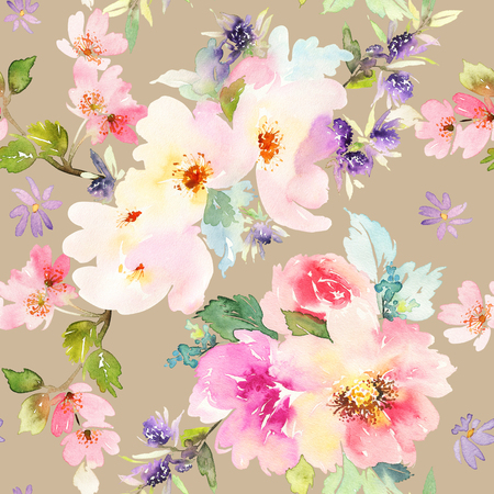 handmade: Seamless pattern with flowers watercolor. Gentle colors. Female pattern. Handmade. Stock Photo