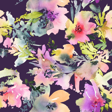 painting on the wall: Abstract watercolor flowers. Seamless pattern. Bright colors. The unusual shape.