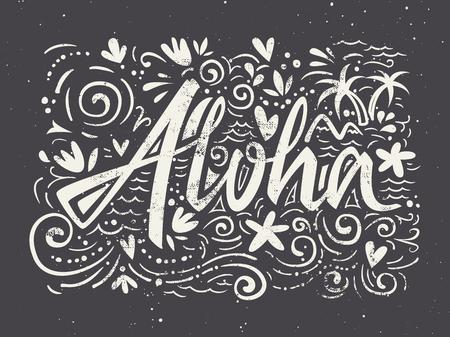 aloha: Aloha shirts to print. Hand lettering. Vector illustration. Summer composition.