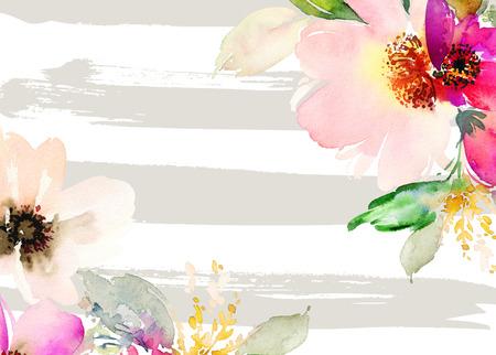 Carte de voeux avec des fleurs.