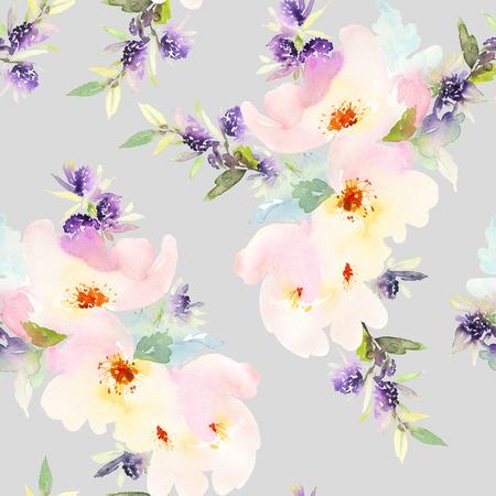 花の水彩画とのシームレスなパターン。優しい色使い。女性のパターン。