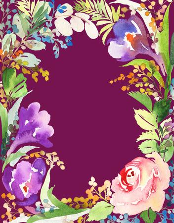 花のグリーティング カード。パステル カラー。水彩画。ブライダル シャワー。