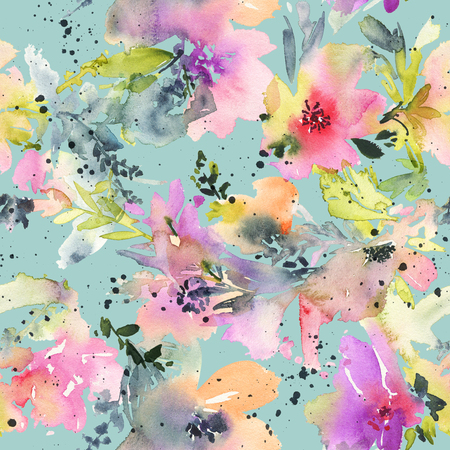 Abstract watercolor flowers. Seamless pattern. Bright colors. The unusual shape.