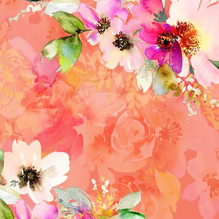 Tarjeta de felicitación con flores. Colores pastel Hecho a mano. Pintura de acuarela. Boda, cumpleaños, día de la madre. Despedida de soltera.