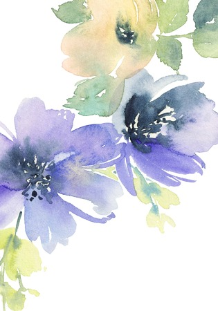 pastel flowers: Greeting card with flowers. Pastel colors. Handmade. Watercolor painting. Wedding, birthday, Mothers Day. Bridal shower. Stock Photo