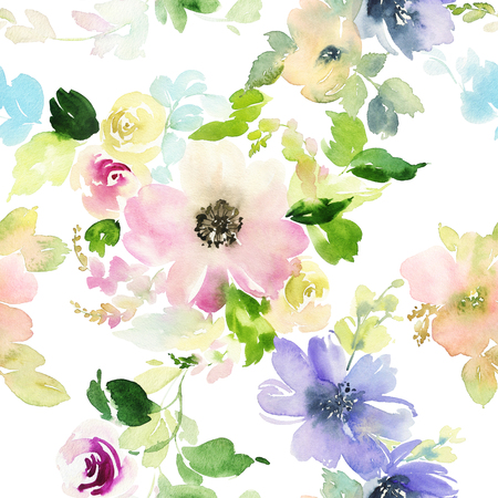 nature flowers: Seamless pattern with flowers watercolor. Gentle colors. Female pattern. Handmade. Stock Photo