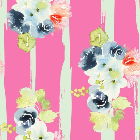 Seamless pattern with flowers watercolor. Gentle colors. Female pattern. Handmade. Stock Photo