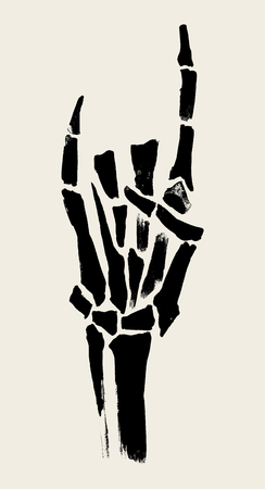 Skeleton hands illustration for printing on posters, T-shirts. Grunge style. Vector graphics.