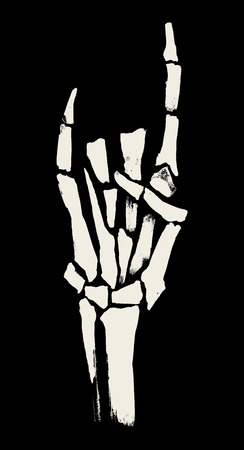 hand sign: Skeleton hands illustration for printing on posters, T-shirts. Grunge style. Vector graphics.
