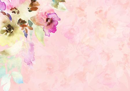 Tarjeta de felicitación con flores. Los colores pastel. Hecho a mano. Pintura de acuarela. Boda, cumpleaños, Día de la Madre. Despedida de soltera.