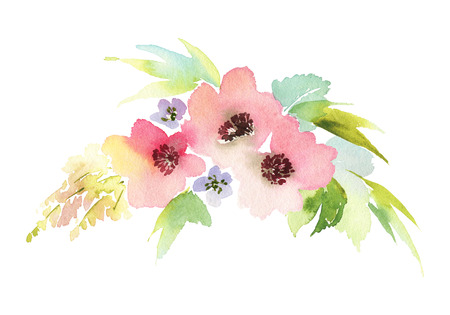 spring summer: Flowers watercolor illustration. Manual composition. Mothers Day, wedding, birthday, Easter, Valentines Day. Pastel colors. Spring. Summer.