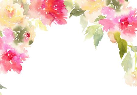 牡丹のグリーティング カード。水彩イラスト。