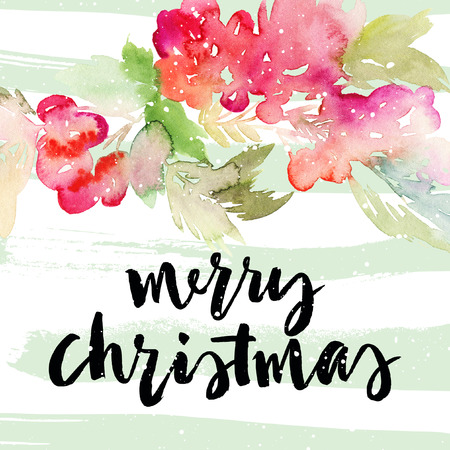 winter tree: Christmas card. Watercolor illustration handmade.
