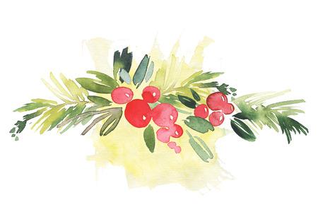 Biglietto natalizio. Acquerello illustrazione a mano. Archivio Fotografico - 58073217