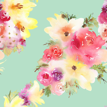 Roses and lilies seamless pattern. Watercolor painting. Bouquet of flowers. Stock Photo