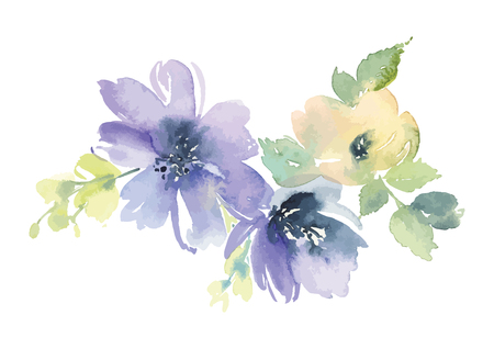 flower banner: Flowers watercolor illustration. Manual composition. Mothers Day, wedding, birthday, Easter, Valentines Day. Pastel colors. Spring. Summer.