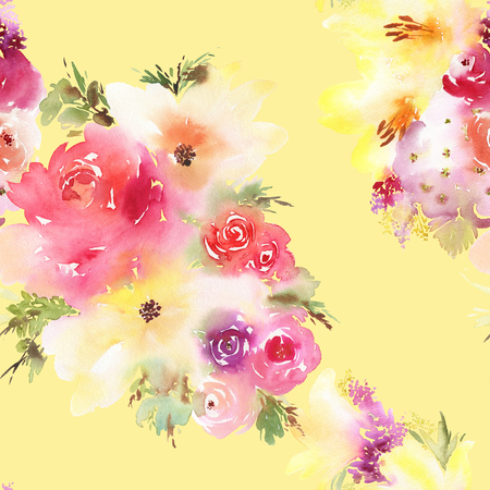 wrappers: Roses and lilies seamless pattern. Watercolor painting. Bouquet of flowers. Stock Photo