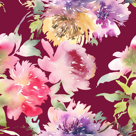 Peony seamless pattern. Watercolor bouquet of flowers.