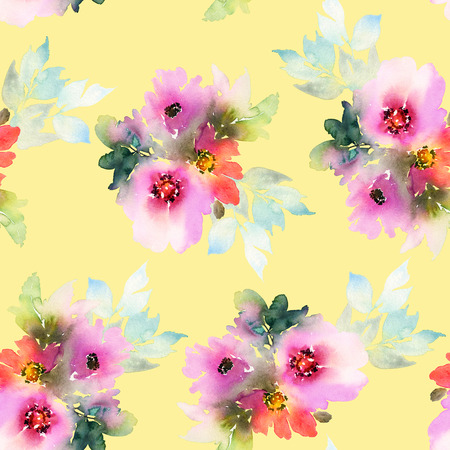Seamless pattern with flowers watercolor. Gentle colors. Handmade. Stock Photo