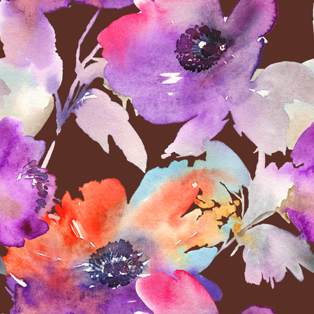 Purple watercolor flowers. Seamless pattern. Stock Photo