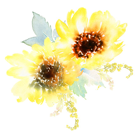 womens hands: Watercolor sunflowers. Postcard for the wedding, birthday party. Summer. Autumn. Gentle warm colors. Stock Photo