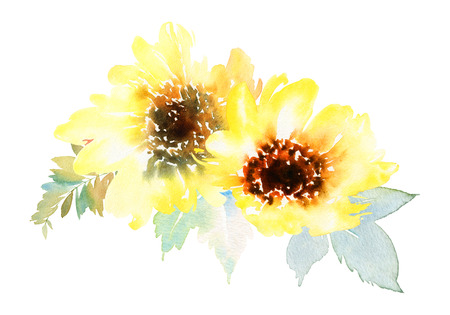 Watercolor sunflowers. Postcard for the wedding, birthday party. Summer. Autumn. Gentle warm colors. Stock Photo