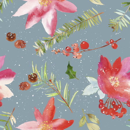 eberesche: Watercolor seamless Christmas pattern. Spruce, pine cones, twigs, berries. Handmade.