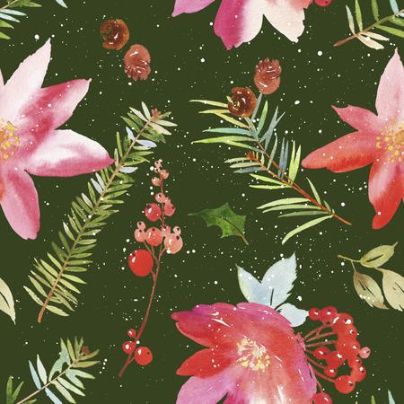 Watercolor seamless Christmas pattern. Spruce, pine cones, twigs, berries. Handmade.