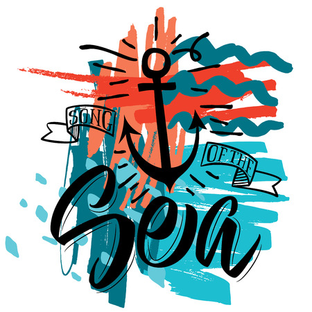 iron ribbon: Deep blue sea. Vector illustration for a t-shirt. Calligraphy Lettering illustration.