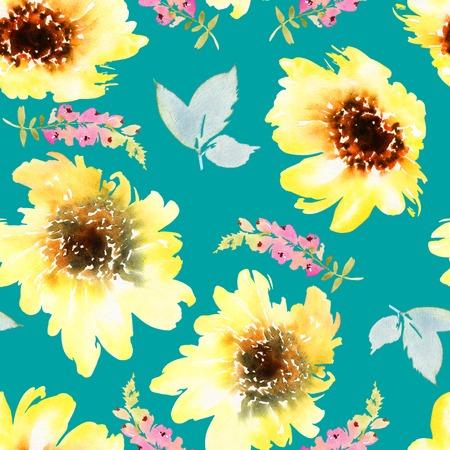 Sunflowers seamless pattern. Watercolor illustration. Autumn. Handmade.