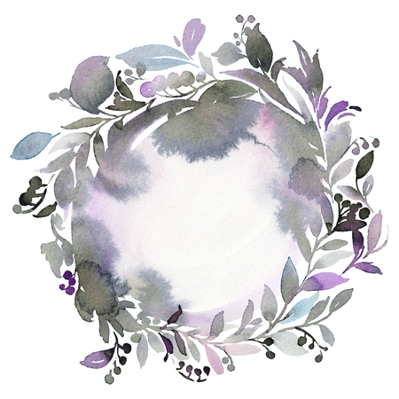 wreathe: Abstract watercolor wreath greeting card in cold gamut.