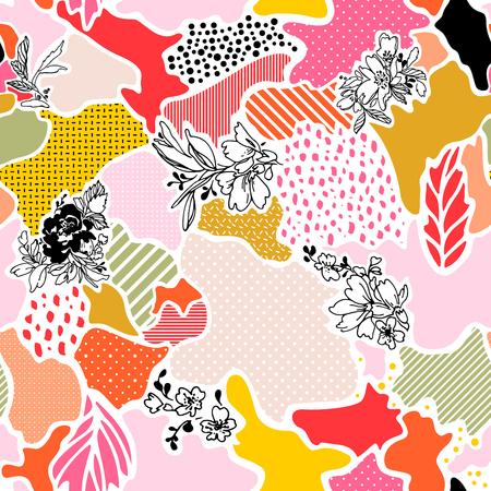 Modèle sans couture abstract vector avec éléments floraux.