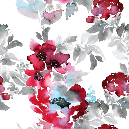pattern: Seamless summer pattern with watercolor flowers handmade.